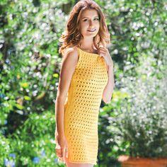 Желтое мини-платье