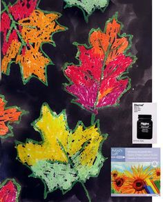 Could trace [real] leaves onto black construction paper, then do a glue resist and finally fill in with oil pastels in fall colors...