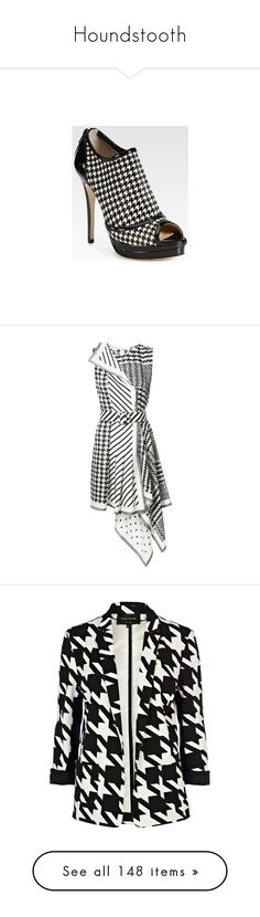"""""""Houndstooth"""" by missy-smallen ❤ liked on Polyvore featuring dresses, black, asymmetrical stripe dress, houndstooth print dress, striped dresses, asymmetrical dresses, houndstooth dress, outerwear, jackets and blazers"""