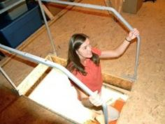 If you feel anxious going up or down your attic ladder or stairs, seriously consider installing some hand railings. It's amazing how much steadier you'll feel {featured on Home Storage Solutions Garage Tool Storage, Loft Storage, Garage Tools, Garage Ideas, Smart Storage, Kitchen Storage, Attic Lift, Garage Attic, Home Design
