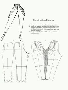 Pattern alteration sheet: adding a side-drape to a pair of pants Sewing Pants, Sewing Clothes, Barbie Clothes, Techniques Couture, Sewing Techniques, Pattern Cutting, Pattern Making, Dress Sewing Patterns, Clothing Patterns