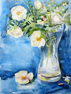 ORIGINAL Watercolor Painting of Flowers,  Flowers in glass, Modern Bouquet Painting, Flowers Still Life Watercolour Art by ArtannaStore on Etsy
