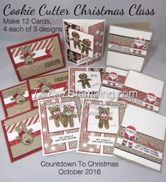 Cookie Cutter Christmas Reindeer Banner Trio Card - Too Cool Stamping Stampin Up Christmas, Christmas Countdown, Christmas 2016, Christmas Greeting Cards, Handmade Christmas, Holiday Cards, Stampin Up Cookie Cutter, Christmas Cookie Cutters, Stamping Up Cards