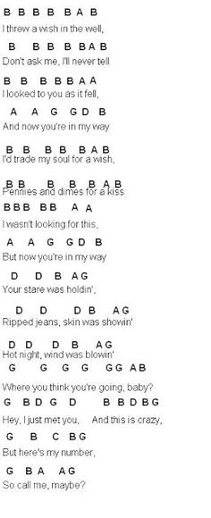Flute Sheet Music: Call Me Maybe