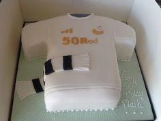 Personalised swans shirt cake