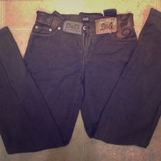 """DOLCE & GABBANA brown pants Authentic Dolce and Gabbana pants! Brown. Size 2. Belt loops are vintage D&G Jean tags. Super cute and artsy!!! Must have✨✨✨✨Inseam 31.5"""" Dolce & Gabbana Pants"""