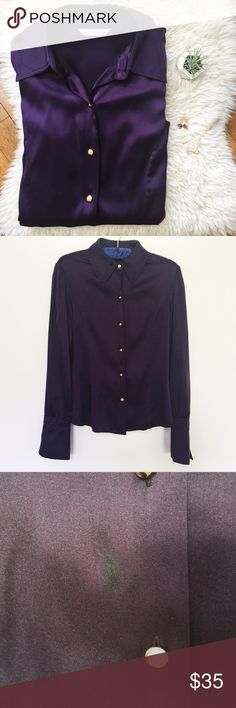"""St. John Violet Silk Shirt St. John Violet Silk Shirt 95% silk, 5% spandex Gold buttons Excellent condition, small stain on lower front. Sizetag is missing. Will fit XS-L depending on desired look. Length 23"""", sleeve length 25"""", armpit to armpit 19""""  Bundle and save 15%!! St. John Tops Button Down Shirts"""
