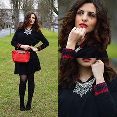 Zara Sweater, Zara Blouse, Zara Necklace, Longchamp Bag, Bershka Skirt, Zara Shoes
