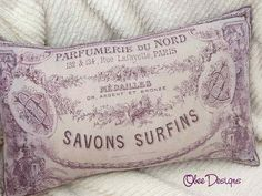 Purple French Vintage SOAP LABEL PILLOW Purple by Obeedesigns, $35.00