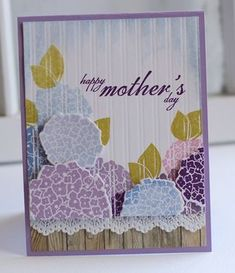 card by Betsy Veldman for PTI May 2012 Release - Happy Hydrangeas stamp set and coordinating dies, Simple Stripes impression plate, Royal Velvet ink