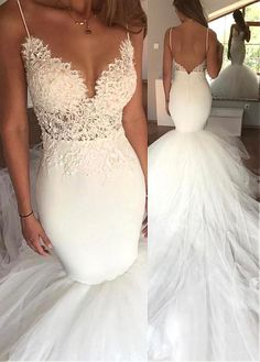 Fabulous Tulle & Satin Spaghetti Straps Neckline Mermaid Wedding Dress With Lace Appliques - Adasbridal.com