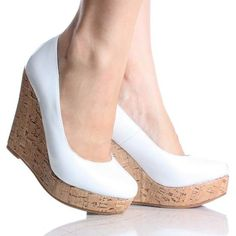 White Patent Cork Platform Wedge High Heel Designer Pump Womens Shoes... ❤ liked on Polyvore featuring shoes, pumps, white pumps, white patent pumps, white high heel shoes, white patent leather pumps e wedges shoes