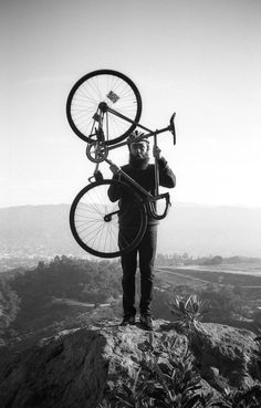 """""""A man on foot, on horseback or on a bicycle will see more, feel more, enjoy more in one mile than the motorized tourists can in a hundred miles. Fixed Gear Bike, Bicycle Art, Bike Style, Top Of The World, Adventure Awaits, Go Outside, Cool Bikes, Mountain Biking, Mountain Man"""