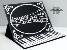 StampOwl's Studio: Piano Easel Card created by Frances Byrne using Piano Border . - StampOwl's Studio: Piano Easel Card created by Frances Byrne using Piano Border – Memory Box; Birthday Verses For Cards, 50th Birthday Cards, Masculine Birthday Cards, Musical Birthday Cards, Happy Birthday, Handmade Birthday Gifts, Birthday Gifts For Best Friend, Fancy Fold Cards, Folded Cards
