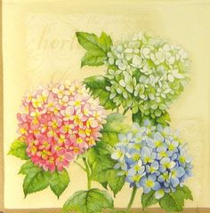 4 x Single Luxury Paper Napkins for Decoupage and Craft Vintage Hortensia