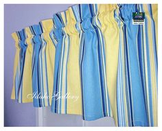 Blue Yellow Stripe Window Valance Little Curtain by Idaho Gallery