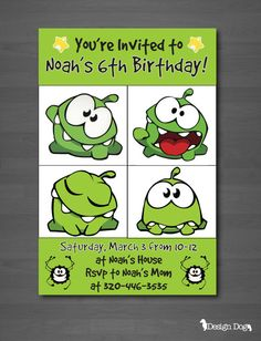 Cut the Rope Birthday Invitation