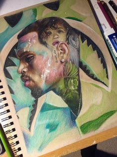 This Is Super Dope and Realistic . Chris Brown Drawing, Chris Brown Art, Creative Artwork, Cool Artwork, Chris Brown Daughter, Black Art Pictures, Cartoon Painting, Amazing Drawings, Portrait Art