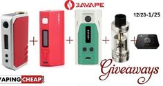 Win over $216 Worth of Vape Gear! 1st: Wismec RX 200w mod 2nd: IJOY solo mini 75w TC mod 3rd: Encom Snow LeoPard 150W TX Mod 4th: Geekvape Griffin RTA 5th: Geekvape 521 Tab