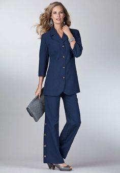 Roamans Plus Size Side Button Pant Suit