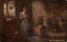 Tuck Scottish Life & Character When The Bairn's Asleep Woman Knitting c1910 << knitter art portrait