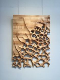 Wall hanging 3D CNC milled Maple wood by NardineDesignStudio | Wood Sculpture, Organic Sculpture, Wall Sculptures, Sculpture Ideas, Wood Carving Designs, Wood Carving Art, Curved Wood, Curved Walls, Working Wall