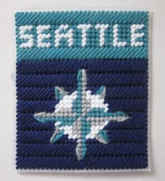Seattle Mariners tissue box cover in plastic canvas by AuntCC for $2.50 Plastic Canvas Coasters, Plastic Canvas Tissue Boxes, Plastic Canvas Crafts, Plastic Canvas Patterns, Football Canvas, Homemade Coasters, Box Patterns, Crochet Cross, Canvas Designs