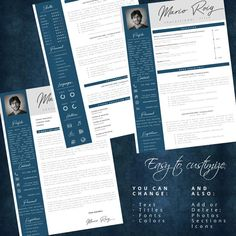 Eye-catching Professional Resume + Cover letter Template Editable for MS Word - Curriculum Vitae - English CV with Fonts included - Resume Cover Letter Template, Cv Template, Letter Templates, Resume Templates, Professional Resume, Lettering, Eye, Words, Resume Maker Professional