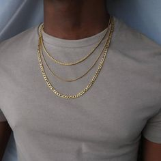 Machi Jewelry Layered Necklace set for men - gold Figaro chain - rope necklace - snake chain Gold Necklace For Men, Mens Chain Necklace, Necklace Sizes, Snake Necklace, Chain Jewelry, Pearl Necklace, Layered Necklace Set, Layered Jewelry, Gold Chains For Men