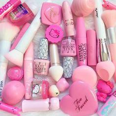 Pretty Pink Makeup Mess - March 10 2019 at Kawaii Makeup, Pink Makeup, Cute Makeup, Beauty Makeup, Make Up Kits, Mode Kawaii, Kawaii Shop, Unicorn Makeup, Pink Lips