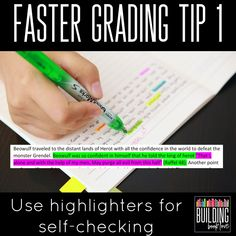 Faster Feedback Tip 1 Use Highlighers Teaching Writing, Teaching Tips, Teaching English, Essay Writing, Writing Activities, Classroom Crafts, Science Classroom, Ela Classroom, English Classroom