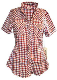 True Religion Womens Red Tri Needle Short Sleeve Western Shirt Size M, NWT $132 Sale Price: US $69.95