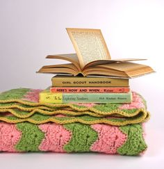 Pink Green and Gold Vintage Crochet Afghan Blanket by Road10 on Etsy Ooo, I love this pic!  Vintage inspiration for your dash today!
