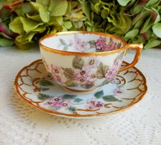 Vintage Limoges Porcelain Cup & Saucer Hand Painted Pink Flowers Gold