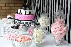 Paris birthday party dessert table, cake and candy jars! See more party ideas at CatchMyParty.com!