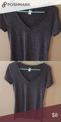 V-neck Tee Dark grey/ charcoal Wet Seal Tops Tees - Short Sleeve