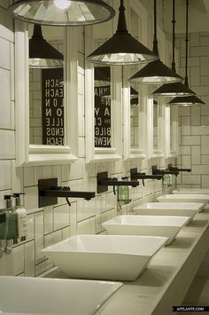 Modern Industrial Bathroom: Modern Restaurant Interior And Exterior Design Ideas Restaurant Bad, Restaurant Bathroom, Restaurant Ideas, Toilette Design, Küchen Design, Cafe Design, Design Ideas, Interior Design, Design Blog