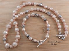 Vintage Iridescent Light Pink Graduated Faux Pearls - Pink Czech Faceted Glass Beads - Necklace and Bracelet Set