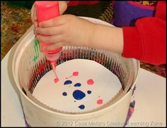 Art motion - with a salad spinner. Ask yard sale people to hold these to the side? Creative Activities, Activities For Kids, Art For Kids, Crafts For Kids, Art Birthday, Circus Birthday, Force And Motion, Carnival Themes, Camping Crafts