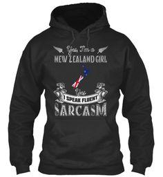 Yes, I'm A New Zealand Girl Yes I Speak Fluent Sarcasm Jet Black T-Shirt Front #NEWZEALANDHOODIES #NEWZEALANDTSHIRT #NEWZEALANDTEES #NEWZEALANDTEESHIRT #NEWZEALAND #NEWZEALANDLOVER #NEWZEALANDQUOTES #NEWZEALANDCOOLSHIRT #IWANTTHISSHIRT #ILOVETHISSHIRT #LOVENEWZEALAND #KIWI