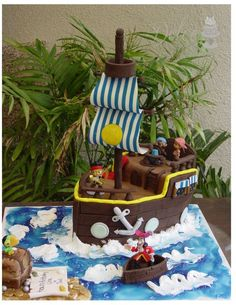 Jack and the neverland pirates themed cake, first time I carved a cake. Pirate ship. sail. boat. ocean. birthday cake,