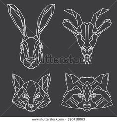 Geometric vector set of hare, goat, fox and raccoon vector animal heads drawn in line or triangle style, suitable for modern tattoo templates, icons or logo elements