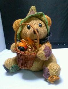 Patchwork Burlap Teddy Bear Button Eyes Pointy Hat Autumn Basket: Pumpkin,Fruit