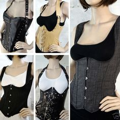 Sexy Vest Style Corsets Underbust Halter Regular + Plus Sizes Pinstripe Grey Black Red Beige Buckle Steampunk Cosplay Costume - ebay - $25.99-28.99 Free domestic shipping!