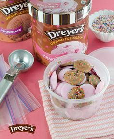 Dreyer's Drops: These fun frozen treats are the perfect after-school snack. Make them ahead of time and freeze them for a grab-and-go dessert anytime your kids want. Just fill a plastic bag with Dreyer's ice cream, cut the corner of the bag and squeeze onto a cookie sheet. Then re-freeze and store them in the freezer inside a plastic baggie or plasticware so you always have some on-hand!