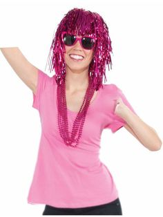 check out womens pink glitter tinsel wig costume accessories for 2018 wholesale halloween costumes