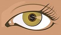 Silhouette of Dollar coin in Compact disc beautiful eye