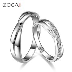 ZOCAI ENCOUNTER 0.15 CT CERTIFIED H / SI DIAMOND HIS AND HERS WEDDING BAND RINGS SETS ROUND CUT 18K WHITE GOLD US $657.99