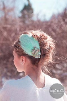 Mint green feather fascinator with large heart by LavenderRoseAcc, $52.00