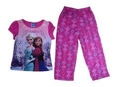 Disney Frozen Big Girls Flowers 2 Piece Pajamas Set